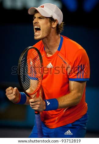 MELBOURNE - JANUARY 27: Andy Murray of Great Britain in his semi finall loss to Novak Djokovic of Serbia at the 2012 Australian Open on January 27, 2012 in Melbourne, Australia. - stock photo
