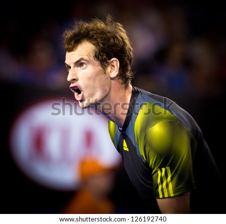 MELBOURNE - JANUARY 27: Andy Murray of Scotland in his loss to Novak Djokovic of Serbia in the 2013 Australian Open Championship Final on January 27, 2013 in Melbourne, Australia. - stock photo