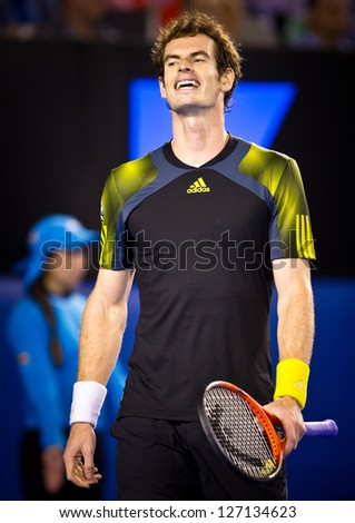 MELBOURNE - JANUARY 27: Andy Murray of Scotland in his loss to Novak Djokovic of Serbia in the 2013 Australian Open Championship Final on January 27, 2013 in Melbourne, Australia.