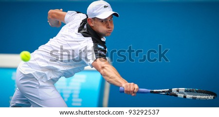 MELBOURNE - JANUARY 17: Andy Roddick in his frist round win over Robin Haase at the 2012 Australian Open on January 17, 2012 in Melbourne, Australia. - stock photo
