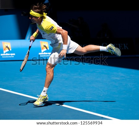 MELBOURNE - JANUARY 22: David ferrer of Spain in his marathon quarter final win over Nicolas Almagro at the 2013 Australian Open on January 22, 2013 in Melbourne, Australia. - stock photo