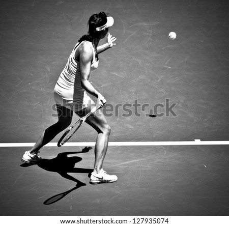 MELBOURNE - JANUARY 14: Kai-Chen Chang of China in her first round loss to Samantha Stosur of Australia at the 2013 Australian Open on January 14, 2013 in Melbourne, Australia. - stock photo