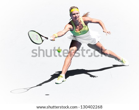 MELBOURNE - JANUARY 19: Maria Kirilenko of Russia in her third round win over Yanina Wickmayer of Belgium at the 2013 Australian Open on January 19, 2013 in Melbourne, Australia. - stock photo