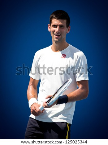 MELBOURNE - JANUARY 17: Novak Djokovic of Serbia in a practice session at the 2013 Australian Open on January 17, 2013 in Melbourne, Australia. - stock photo