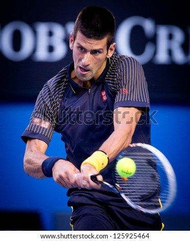 MELBOURNE - JANUARY 24: Novak Djokovic of Serbia in his semi final win over David Ferrer of Spain at the 2013 Australian Open on January 24, 2013 in Melbourne, Australia. - stock photo