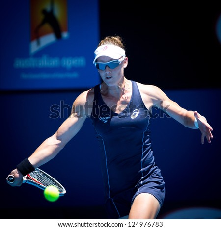 MELBOURNE - JANUARY 14: Samantha Stosur of Australia in her first round win over Kai-Chen Chang of China at the 2013 Australian Open on January 14, 2013 in Melbourne, Australia.