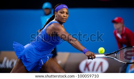 MELBOURNE - JANUARY 21: Serena Williams in her third round win over Greta Arn at the 2012 Australian Open on January 21, 2012 in Melbourne, Australia. - stock photo
