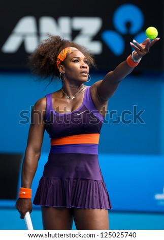 MELBOURNE - JANUARY 17: Serena Williams of the USA in her second round win over Garbine Muguruza of Spain at the 2013 Australian Open on January 17, 2013 in Melbourne, Australia. - stock photo
