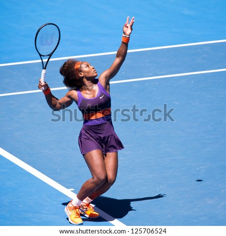 MELBOURNE - JANUARY 23: Serena Williams of USA in her quarter final loss to Sloane Stephens of USA at the 2013 Australian Open on January 23, 2013 in Melbourne, Australia.