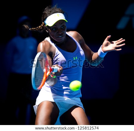 MELBOURNE - JANUARY 23: Sloane Stephens of USA in her quarter final win over Serena Williams of USA at the 2013 Australian Open on January 23, 2013 in Melbourne, Australia.