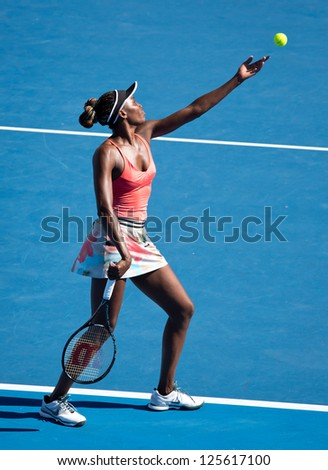 MELBOURNE - JANUARY 22: Venus Williams of the USA in a doubles match at the 2013 Australian Open on January 22, 2013 in Melbourne, Australia. - stock photo