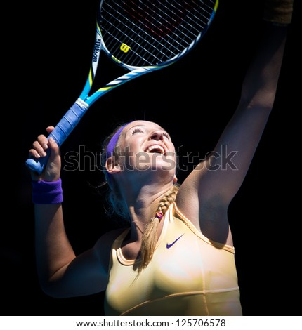 MELBOURNE - JANUARY 23: Victoria Azarenka of Belarus in her quarter final win over Svetlana Kuznetsova at the 2013 Australian Open on January 23, 2013 in Melbourne, Australia. - stock photo