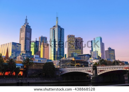 MELBOURNE - JUNE 01: Dusk of Melbourne City on June 01, 2016. Melbourne is the capital and most populous city in the Australian state of Victoria.