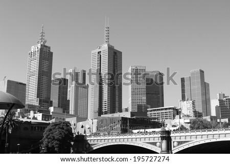 Melbourne monochrome skyline - stock photo