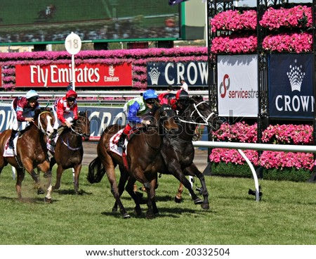 MELBOURNE NOVEMBER 6 - Arinos ridden by Craig Williams wins the Service Stream Sprint on 2008 Oaks day at Flemington in Melbourne - stock photo