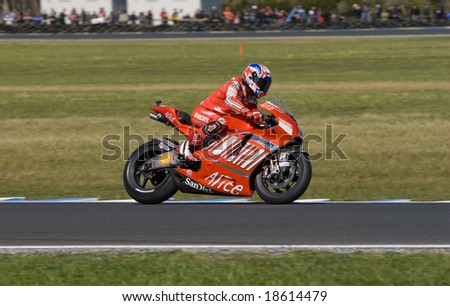 MELBOURNE - OCTOBER 4: Casey Stoner, the winner of MotoGP race October 4, 2008 on Phillip Island, Melbourne Australia. - stock photo