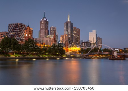 Melbourne panorama from Southbank - stock photo