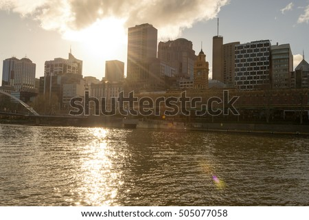 Melbourne's Central Business District (CBD) by the Yarra river in Australia