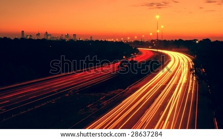Melbourne's Eastern freeway by night - stock photo