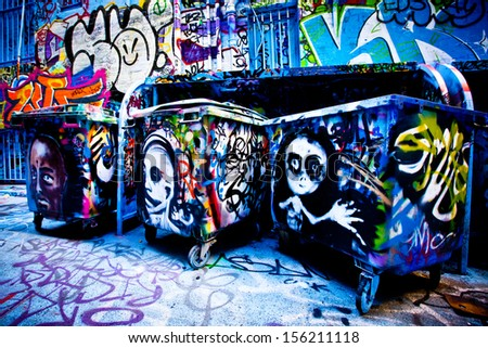 MELBOURNE - SEPT 11: Street art by unidentified artist. Melbourne's graffiti management plan recognizes the importance of street art in a vibrant urban culture - September 11, 2013 in Melbourne, Australia - stock photo