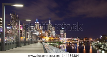 Melbourne skyline as seen at dusk from Queens Bridge near Southbank in Melbourne, Victoria, Australia