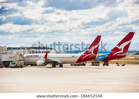 MELBOURNE, VICTORIA/AUSTRALIA, MARCH 17TH: Image of Qantas passenger airliners at Melbourne Airport on 17th March, 2014 in Melbourne - stock photo