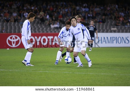 Melbourne Victory FC vs Gamba Osaka - Telstra Dome, 9th April '08 (#7 ENDO, Yasuhito) - stock photo