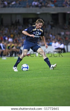 Melbourne Victory FC vs Gamba Osaka - Telstra Dome, 9th April '08 (#22 WARD, Nick) - stock photo