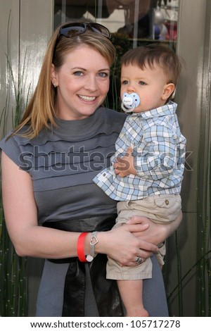 Melissa Joan Hart and her son  at the 7th Annual Stuart House Benefit. John Varvatos Boutique, Beverly Hills, CA. 03-08-09 - stock photo