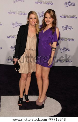 """Melissa Joan Hart and Taylor Spreitler  at the """"Justin Bieber: Never Say Never"""" Los Angeles Premiere, Nokia Theater, Los Angeles, CA. 02-08-11 - stock photo"""