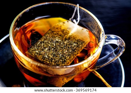 melissa tea with teabag - stock photo