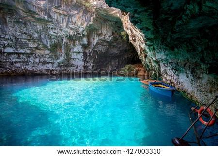 Melissani lake on Kefalonia island Greek famous tourist place - stock photo