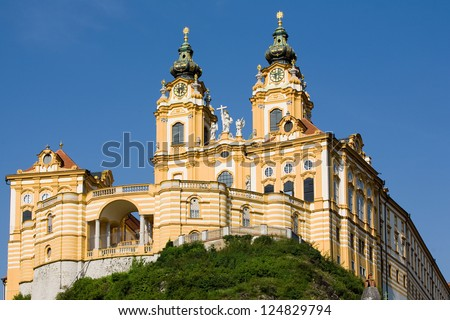 MELK ABBEY OR STIFT MELK IS AN AUSTRIAN BENEDICTINE ABBEY, AND ONE OF THE WORLD'S MOST FAMOUS MONASTIC SITES IT IS LOCATED ABOVE THE TOWN OF MELK ON A ROCKY OUTCROP OVERLOOKING THE RIVER DANUBE