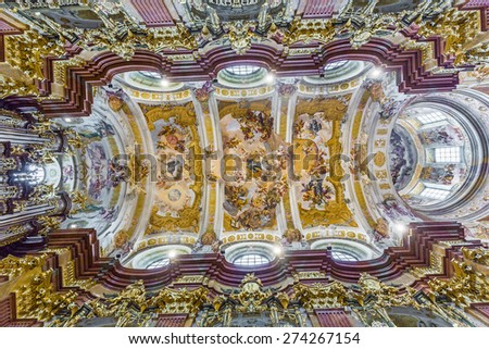 MELK, AUSTRIA - APR 23, 2015: St. Peter and Paul Church in Melk Abbey in Melk, Austria. Abbey Church is considered one of the most beautiful in Austria, built in baroque churches. - stock photo