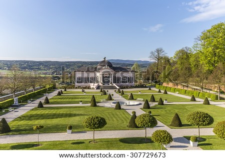 MELK, AUSTRIA - APR 22, 2015: stifts park with garden pavillion at famous convent in Melk, Austria. The park with pavillion was built in 1747 by Franz Munggenast.