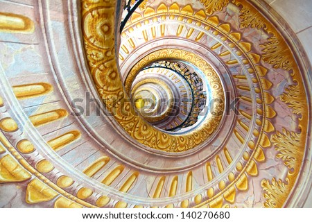 MELK, AUSTRIA - JUNE 21: The  Imperial Stairs. Melk Abbey (German Stift Melk) was originally a palace. Located on the bank of the Danube River between Salzburg and Vienna; June 21, 2012 Melk, Austria  - stock photo