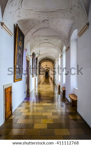 MELK, AUSTRIA, MAY 16, 2015: Interior of the melk abbey which serves as a museum of history.