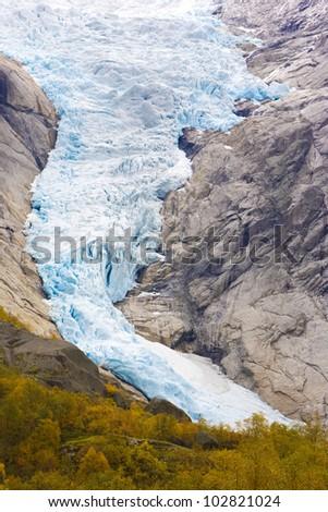 Melkevollbreen Glacier, Jostedalsbreen National Park, near Brigsdal, Norway - stock photo