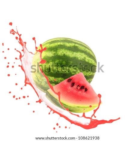 Mellon with slice and splash isolated on white - stock photo