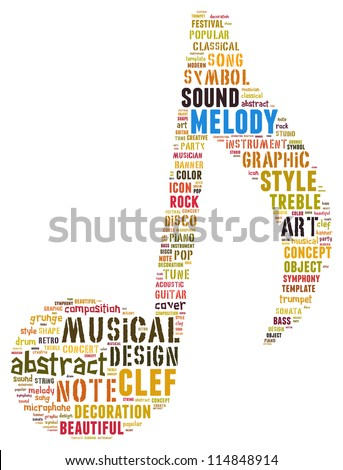melody info-text graphics and arrangement concept (word cloud) - stock photo