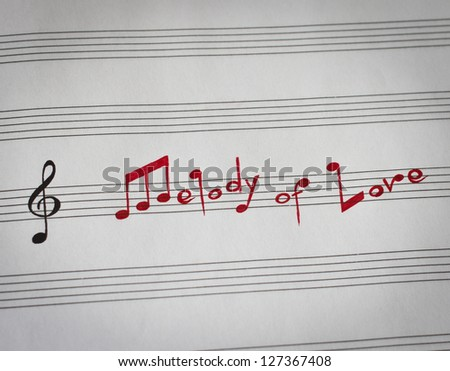 Melody of Love words in shape of music notes