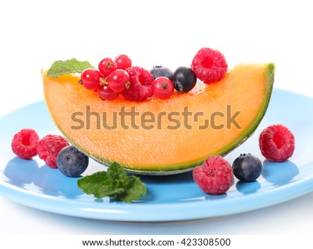 melon and berries - stock photo