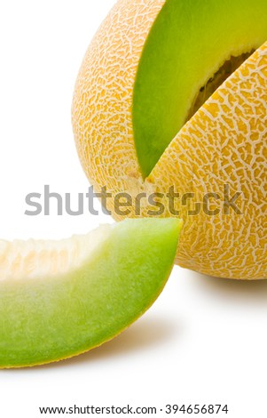 Melon honeydew. Ripe fresh melon honeydew and a slice close-up isolated on white background - stock photo