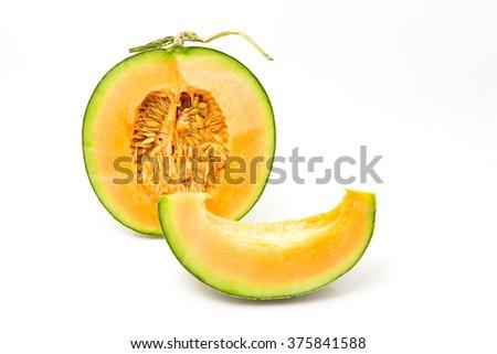 Melon on white background - stock photo