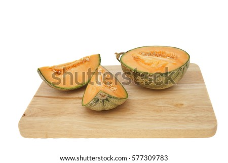 Melon on wooden board with isolate background