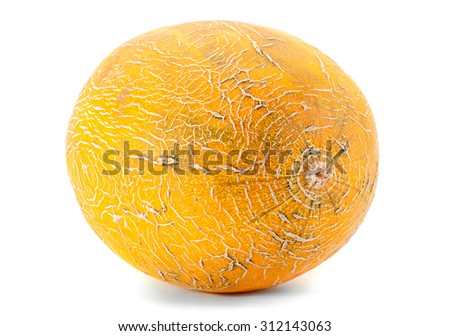 Melon yellow fruit isolated on white background