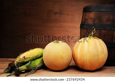 Melons and young corn on the table - stock photo