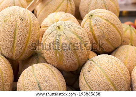 Melons on market - stock photo