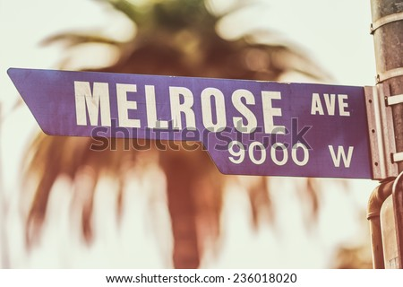 Melrose Avenue Street Sign Day. A street sign marking the famous Melrose Avenue in West Hollywood, California. - stock photo
