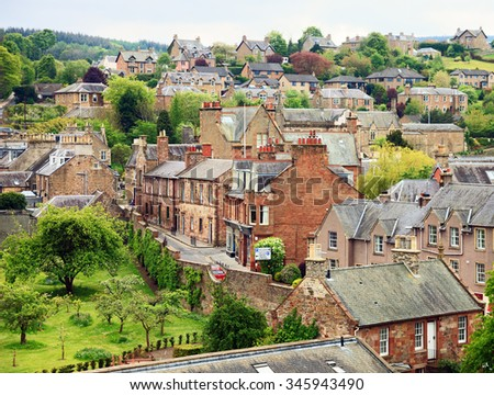 Melrose  - small town  in the Scottish Borders, Scotland, United Kingdom - stock photo